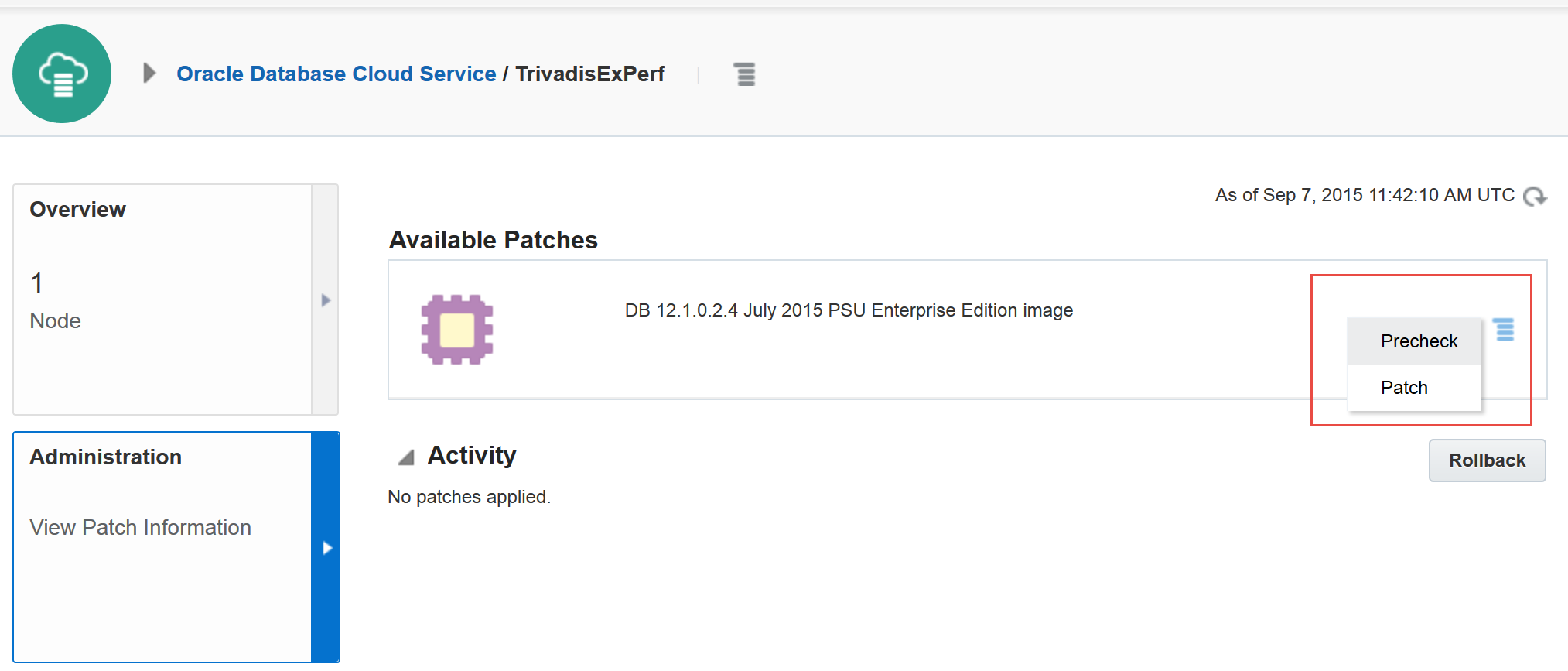 Patching a DBaaS Database in the Oracle Cloud – martinberger com
