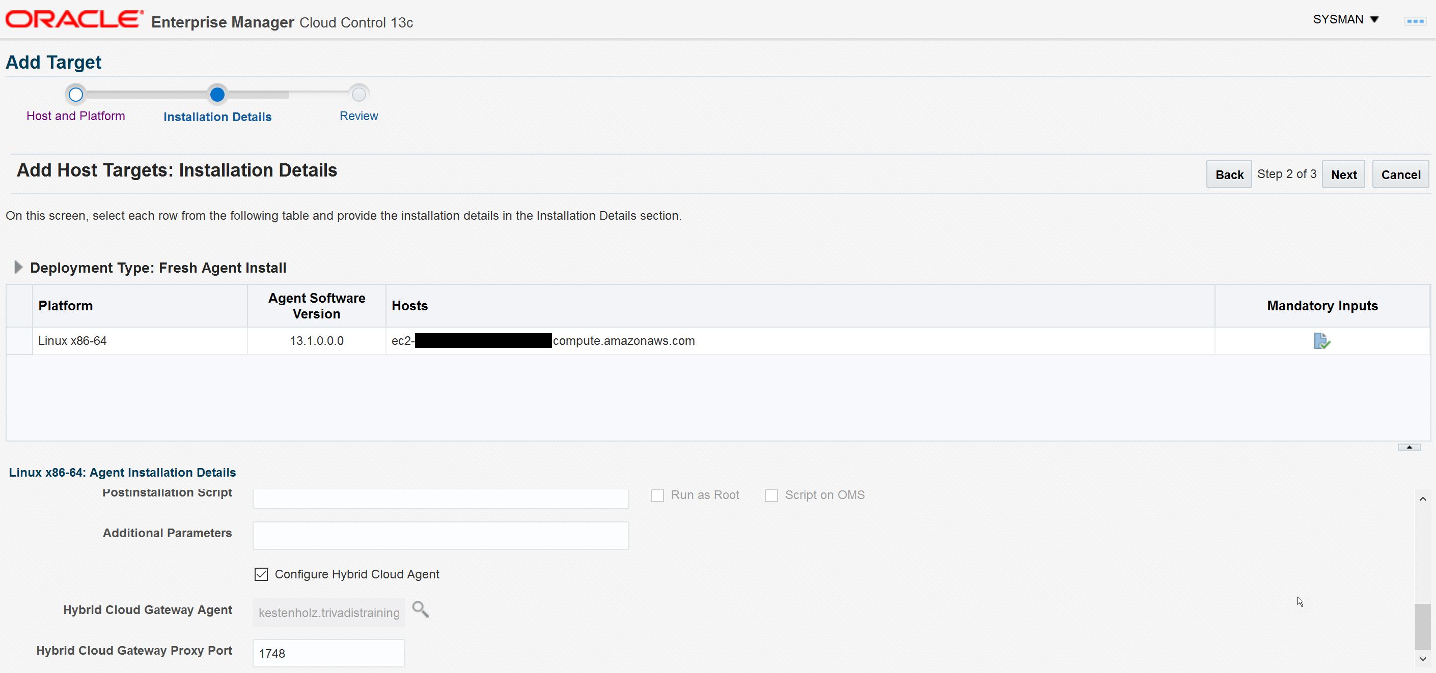 Enterprise Manager 13c – Let's use the Hybrid Agent for Amazon EC2