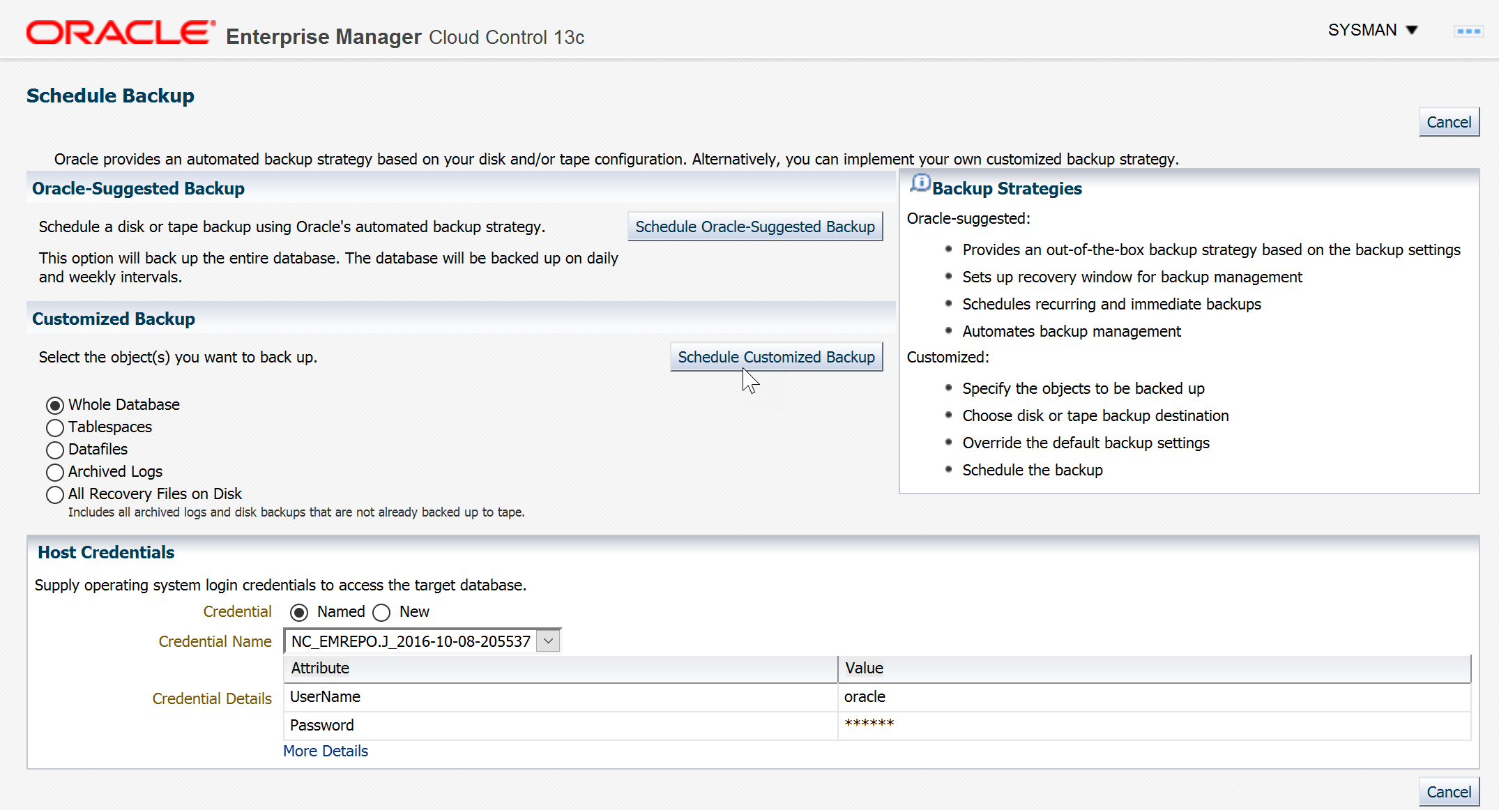 Connect your Enterprise Manager 13cR2 with the Oracle Database