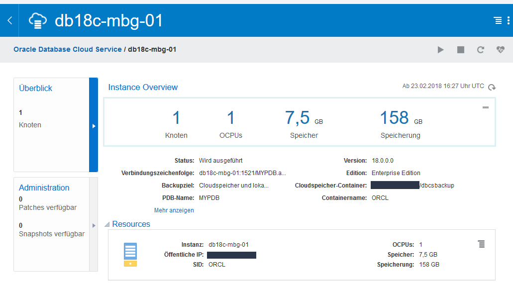 Get your Oracle 18c Instance in the Oracle Infrastructure Cloud OCI